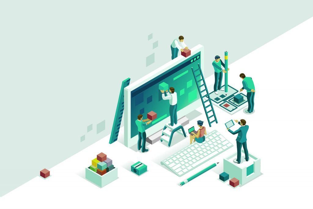 Engineer team at project development, template for developer. Coding develop, programmer at computer or workstation for business. Concept with character, flat isometric vector illustration